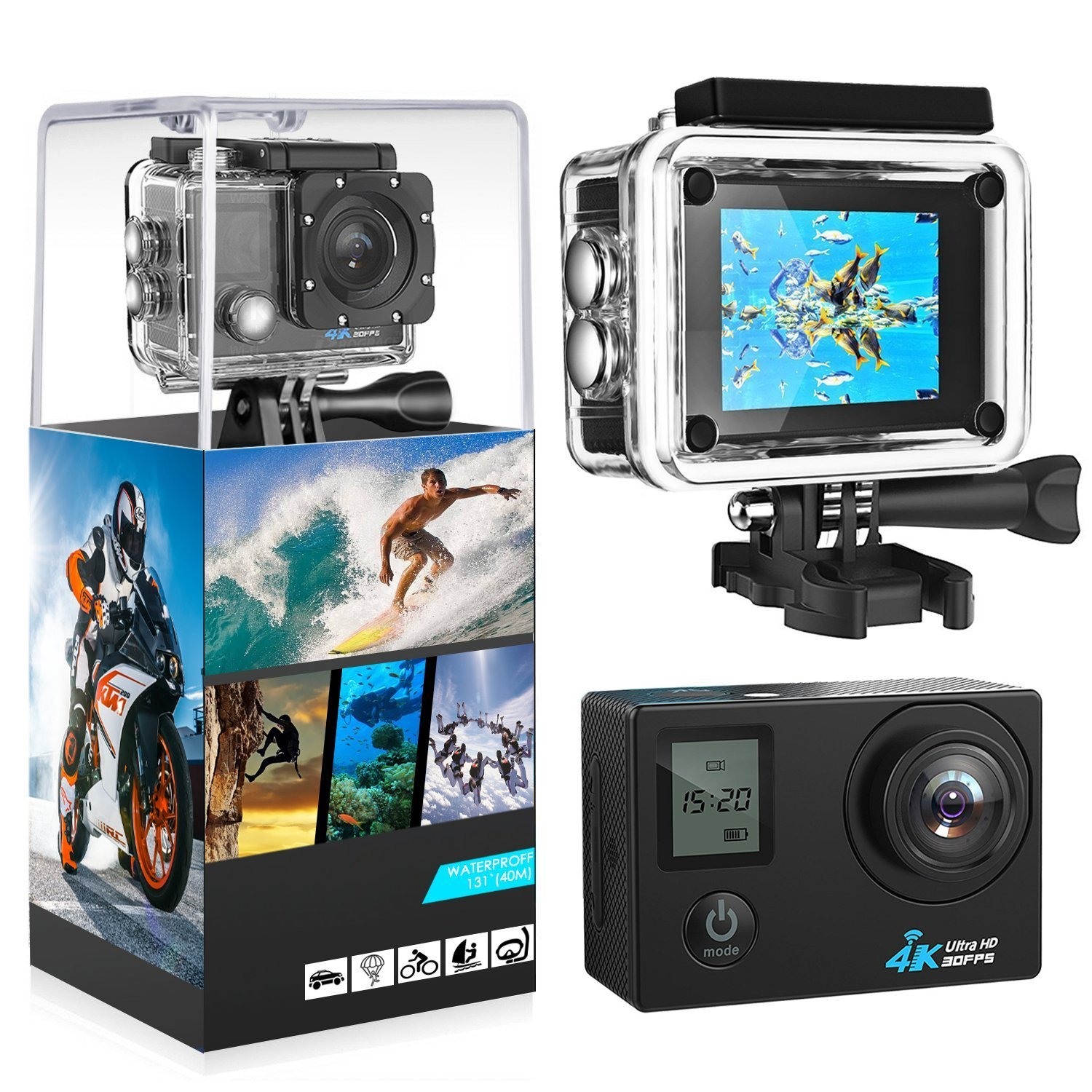 4K Action Camera, 2.0 LCD Display With Front Screen 4K WiFi Ultra HD Waterproof Sport Camera with 160 Wide-Angle Lens, Including Full Accessories Kits and Waterproof Case T-mars