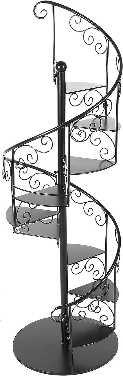 55 en negro Metal espirales escalera de caracol diseño planta pantalla estante soporte/estante para botellas de vino con 7 baldas: Amazon.es: Jardín