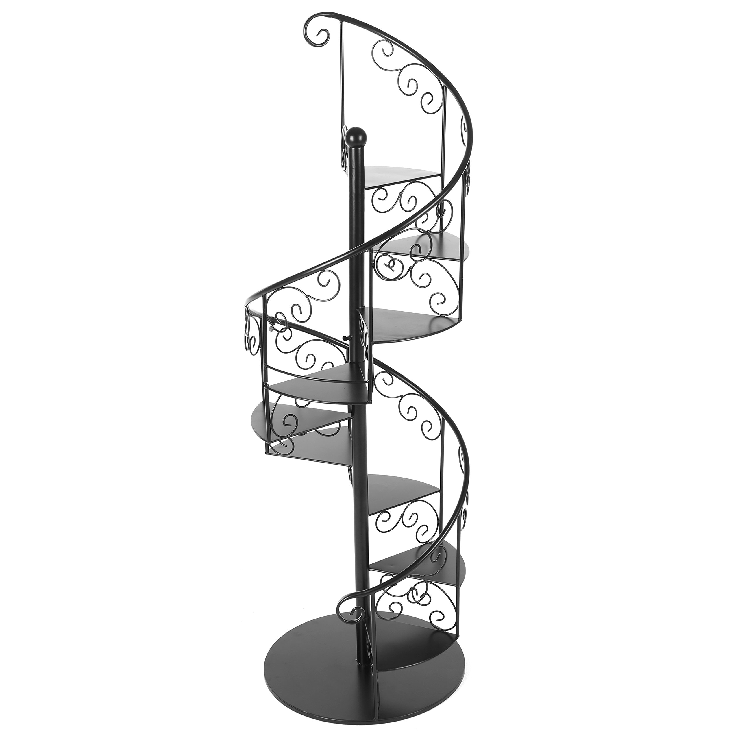 55 In Black Metal Scrollwork Winding Staircase Design Plant Display Shelf Stand / 7 Tier Wine Bottle Rack by MyGift
