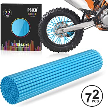 Bicycle Dirt Bike Spoke Cover 72Pcs Wheel Rim Spoke Skins Cover Wraps Set Universal for Yamaha Kawasaki Suzuki Honda 8-21 Rims Tubes Decor Protector Blue