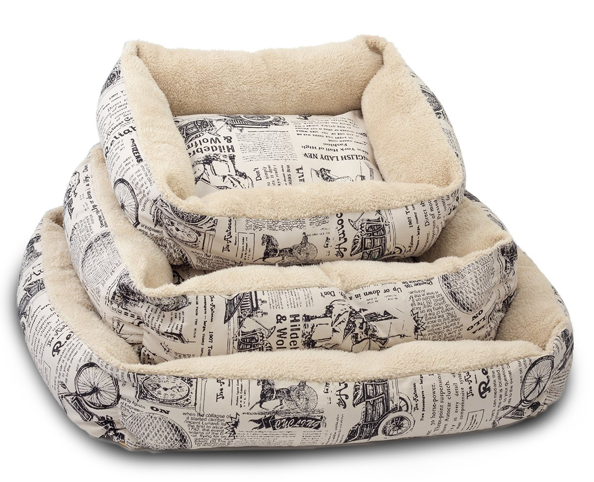 Paws & Pals Pet Bed for Cat and Dog Crate Pad - Deluxe Premium Bedding with Cozy Inner Cushion- Durable Model - 1800's Newspaper Design