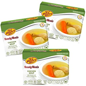 Kosher Mre Meat Meals Ready to Eat, Matzoh Ball Chicken Soup & Vegetables (3 Pack) - Prepared Entree Fully Cooked, Shelf Stable Microwave Dinner – Travel, Military, Camping, Emergency Survival Food