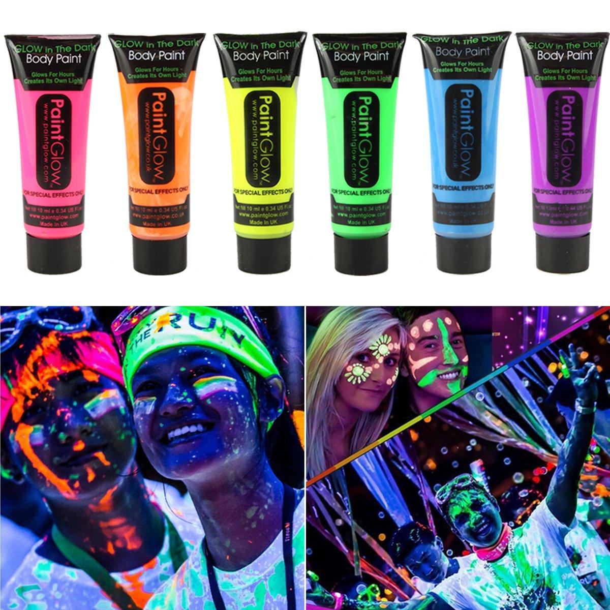 GARYOB Glow in Dark Face Body Paint UV Blacklight Neon Fluorescent-0.35oz Set of 6 Tubes