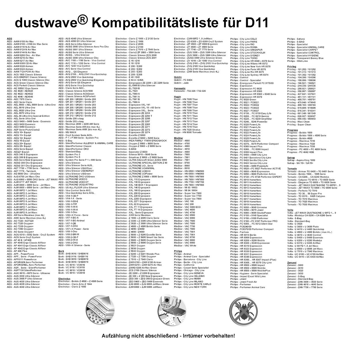 Original Swirl PH86 oder dustwave Staubsaugerbeutel D11 für Tornado Staubsauger