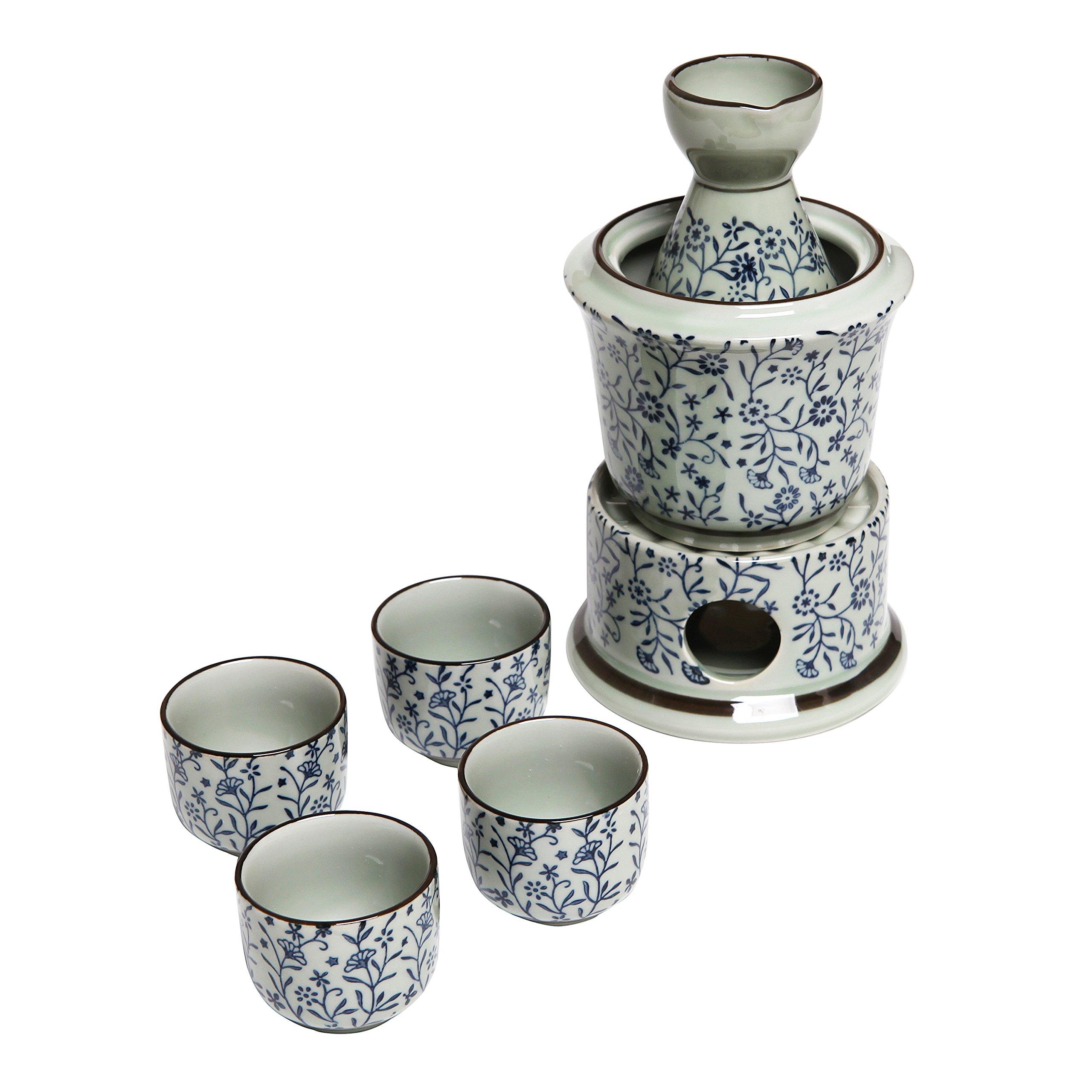 Exquisite Ceramic Blue Flowers Japanese Sake Set w/ 4 Shot Glass/Cups, Serving Carafe & Warmer Bowl by MyGift (Image #2)