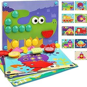 Nene Toys - Puzzle Infantil de Madera 8 en 1 – Juguete Educativo para Niños Niñas de 2 3 4 años – Mosaicos 3D con 8 Coloridos Diseños de Rompecabezas – Juego Montessori de Desarrollo Cognitivo