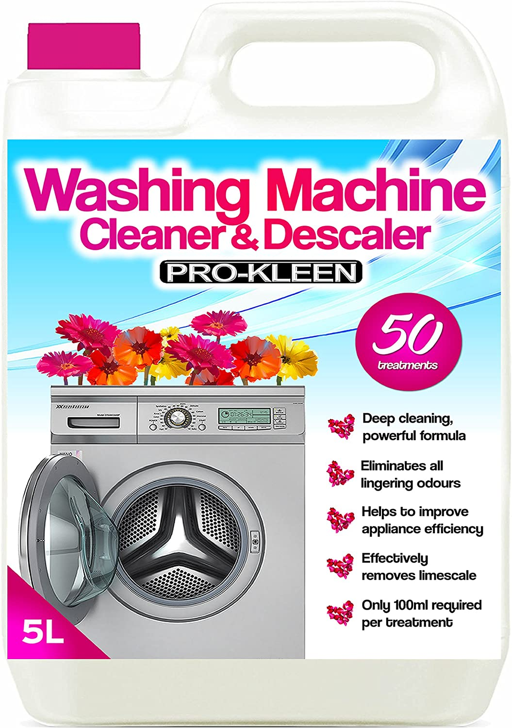 Pro-Kleen Washing Machine Cleaner and Descaler - 50 Treatments - Removes Smells Caused by Mould, Mildew & Damp & Grease (1, 5 Litre) 1 5 Litre