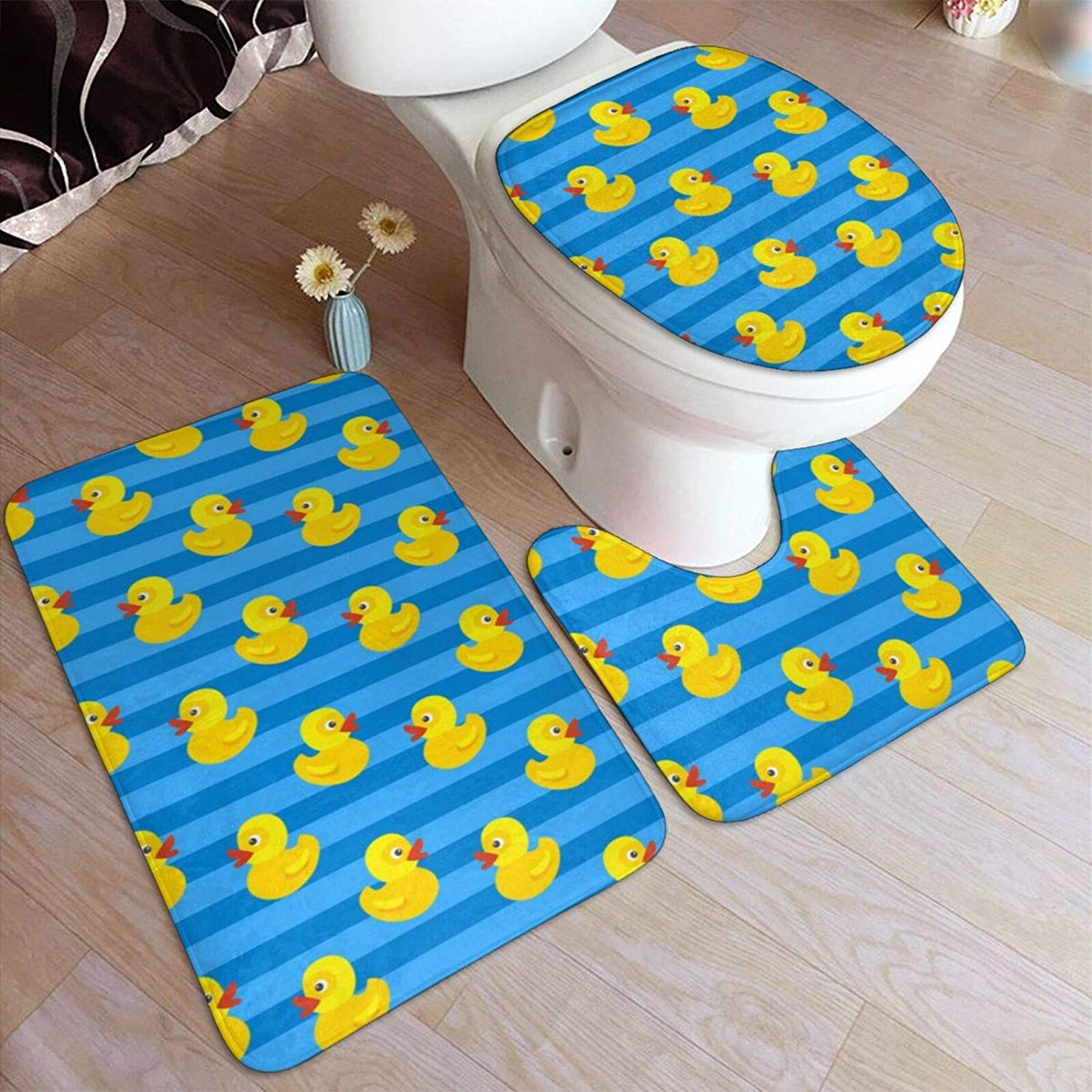 Amazon.com: Bathroom Rugs Sets 5 Piece Cute Yellow Rubber Duck On