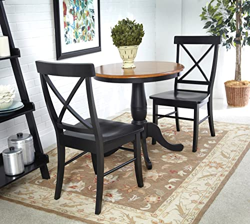 International Concepts 3 Piece 30 Round Table with with 2 Chairs, Black Cherry