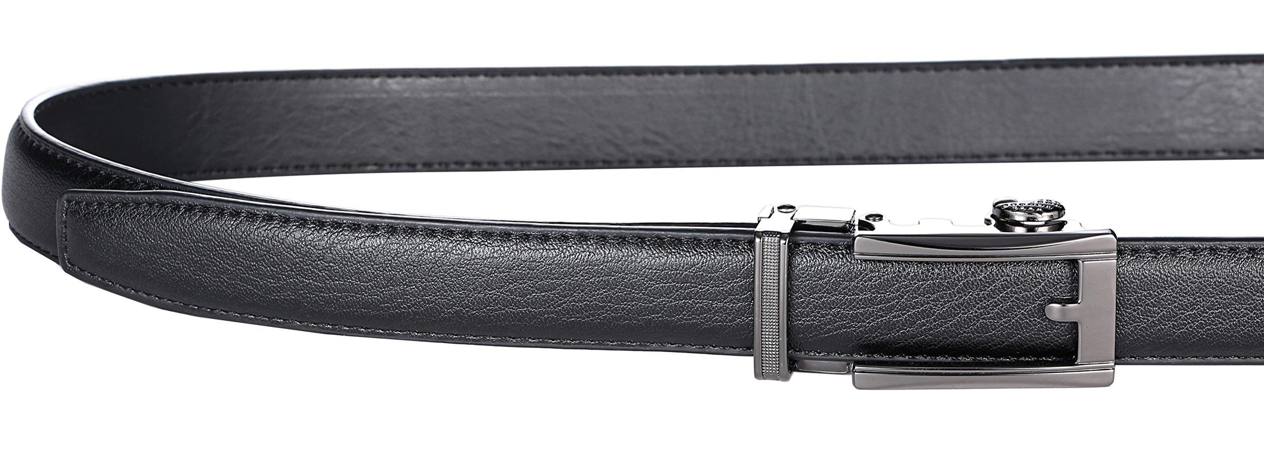 Marino Boy's Genuine Leather Belt, Ratchet Dress Belt with Automatic Buckle - 5-16 - Gunblack Silver Open Buckle with Black Leather by Marino Avenue (Image #2)