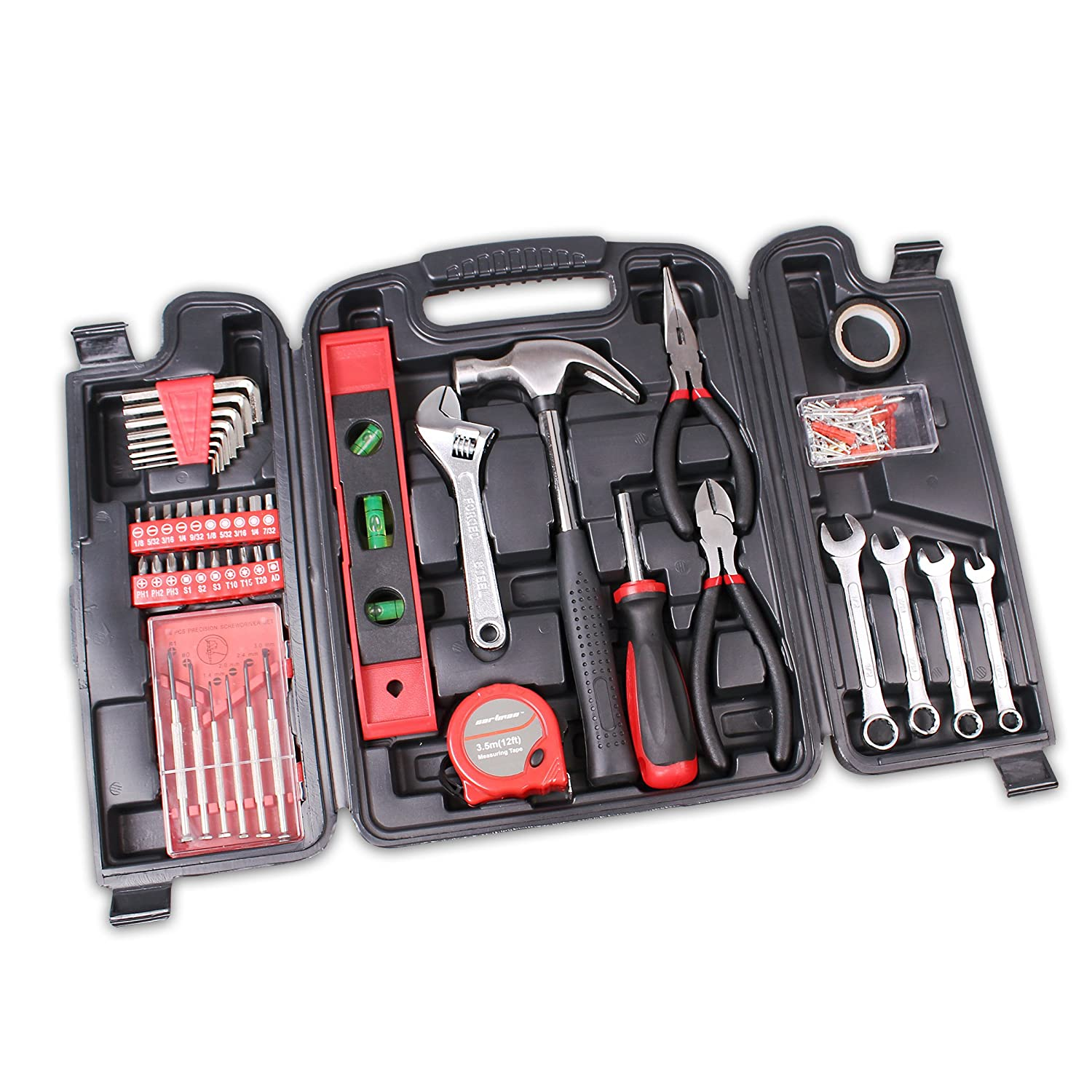 Cartman 136 Piece Tool Set General Household Hand Tool Kit With Plastic Toolbox Storage Case