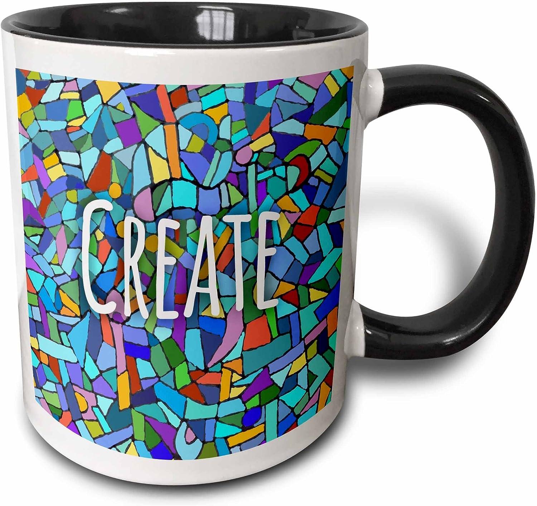 3dRose Create-inspiring creativity-Blue Motivational saying Mug, 11 oz, Black