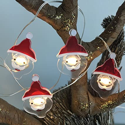 battery operated christmas lights decorative string lights led 20 santa claus novelty fairy lights flexible copper - Battery Powered Christmas Lights Amazon