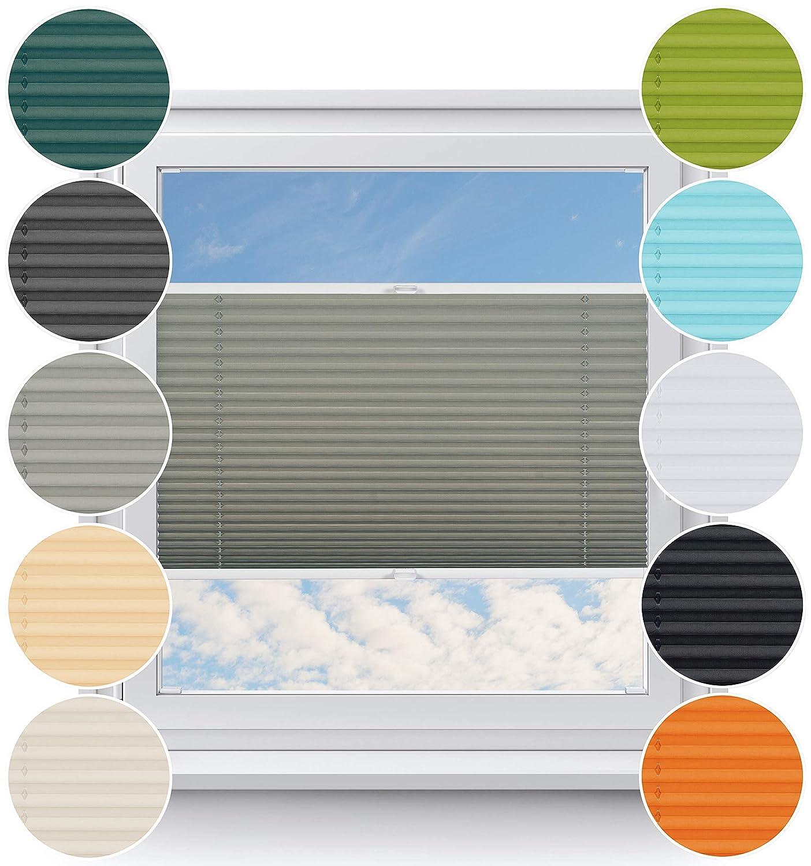 Rollo Studio Thermo Fenster Plissee auf Maß, Viele Größen und Farben, Montage in der Glasleiste für alle Fenster, Verdunkelungsplissee, Fensterrollos, Grau B07MV4Z4BZ Plissees