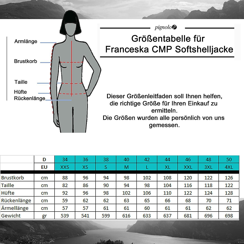 Gr/ö/ße:40 Farbe:Storm CMP Chaqueta de Invierno Softshell Mujer Capucha para Invierno y oto/ño Negro Repelente al Agua Franceska