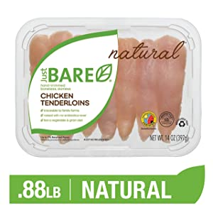 Just BARE Natural Fresh Chicken Tenders | Antibiotic Free | Boneless | Skinless | 0.88 LB