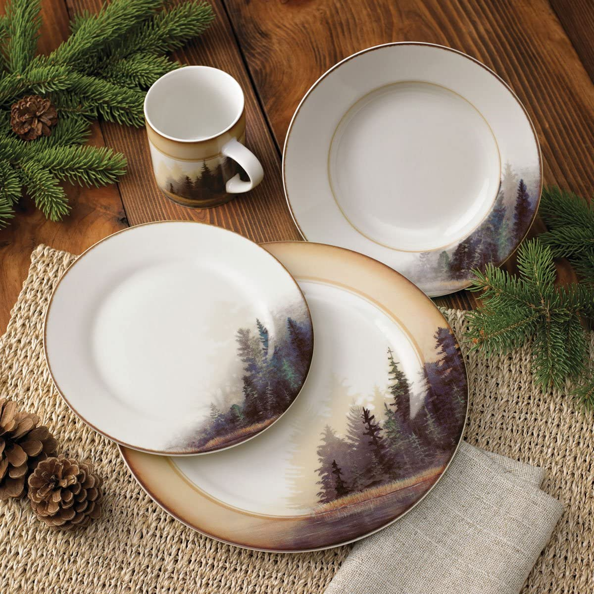 Misty Forest Cabin Dinnerware Set - 16 Pcs - Cabin Dining Tableware