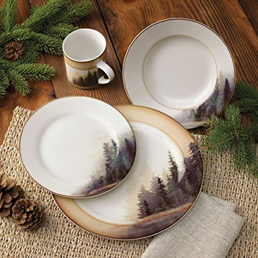 Amazon.com | Black Bear Forest Dinnerware Set - 16 pcs - Cabin ...