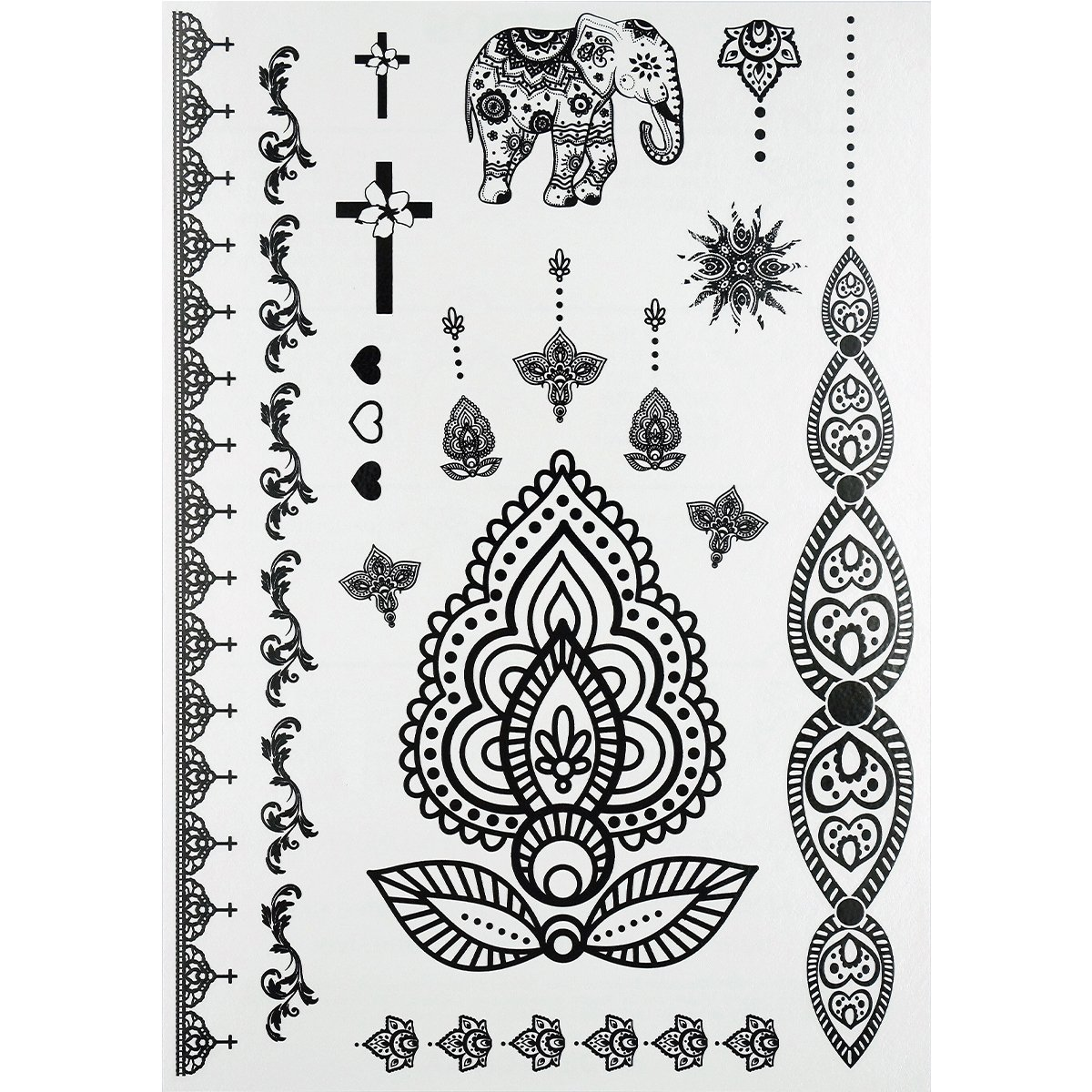 GIFT!!Tastto 6 Sheets Henna Body Paints Temporary Tattoos Black Lace Stickers for Girls and Women with GIFT by Tastto (Image #6)