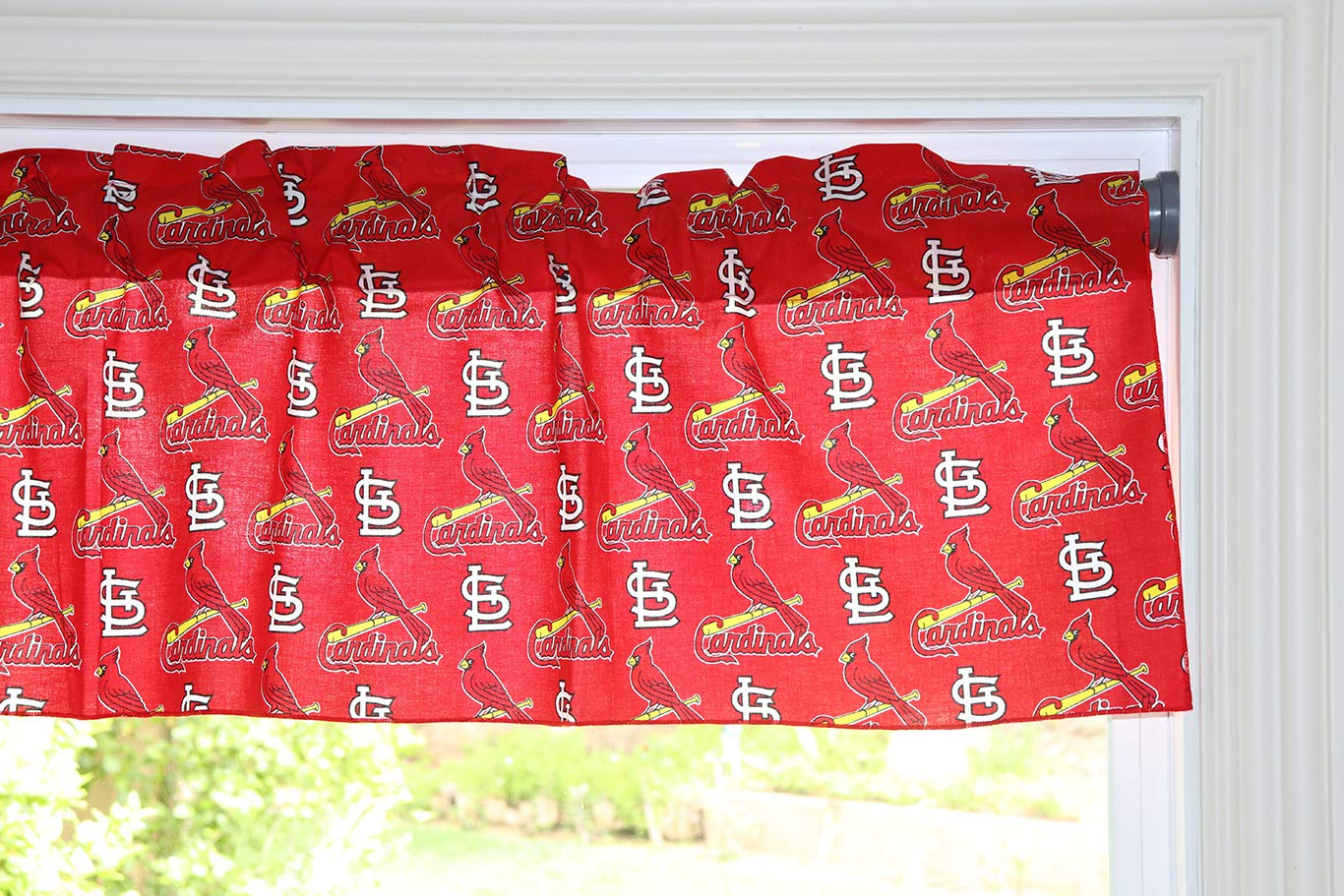 lovemyfabric Baseball Cotton Window Valance 100% Cotton Print MLB Sports Team St. Louis Cardinals Events Kitchen Dining Room Bedroom Window Decor (58'' Wide) (32'' Tall, Red) by lovemyfabric