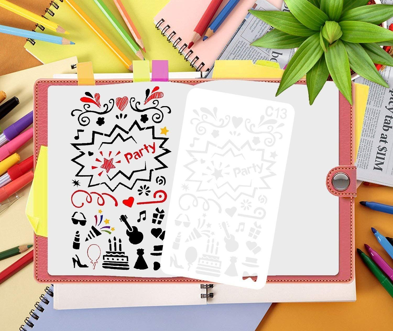 Tian Plantillas Pintura Set - 24pcs A5 Plastico Plantillas Dibujo Stencil Bullet Journal para Scrapbooking Planner con Bolsa de Lona Exquisita: Amazon.es: ...