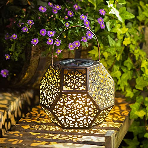 Solar Lantern Hanging Garden Outdoor Lights Metal Waterproof LED Table Lamp Bronze