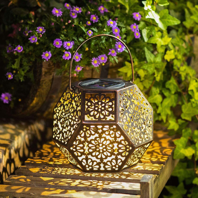 Solar Lantern Hanging Garden Outdoor Lights Metal Waterproof LED Table Lamp (Bronze) by Homeimpro