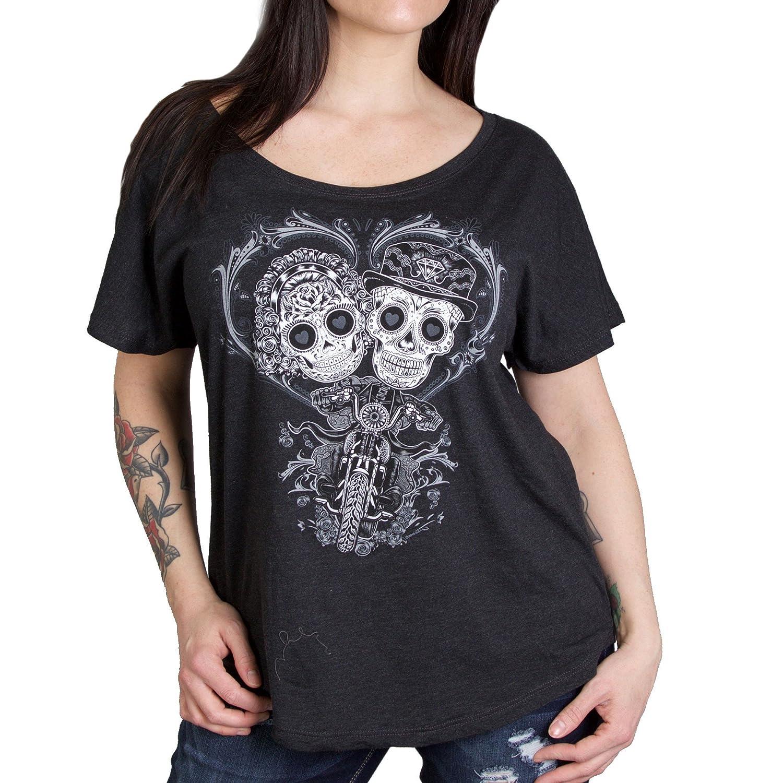 575 Hot Leathers Sugar Couple Womens Dolman Biker T-Shirt Vintage Black, X-Large