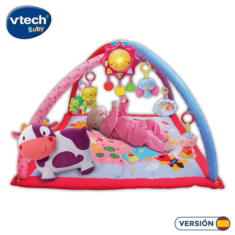 VTech Mantita de juego cantarín 2 en 1, manta y gimnasio de aprendizaje para bebé con más de 40 canciones, frases y melodías, panel extraíble, color ...