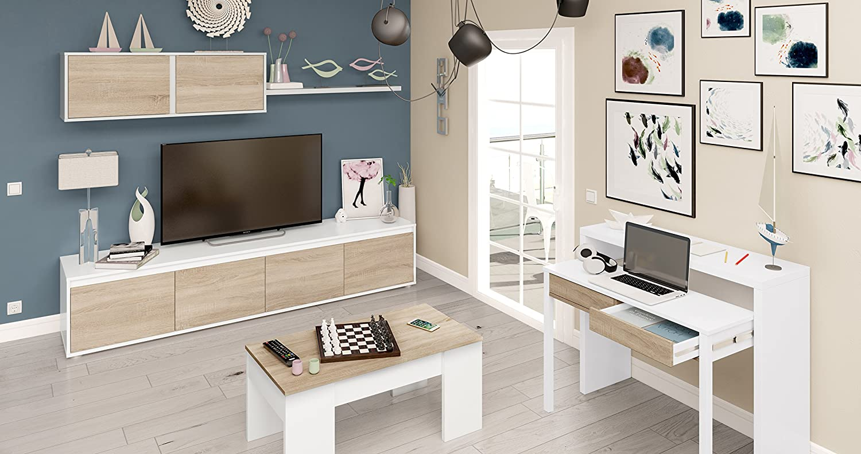 Habitdesign 0F6663A - Mueble de salón moderno, modulos comedor Alida, acabado en color Blanco Artik y Roble Canadian, medidas: 43 x 200 x 41 cm de ...