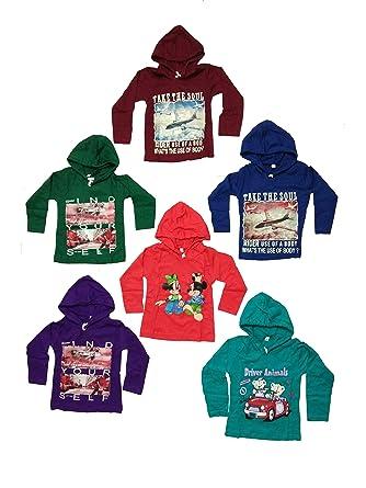 91cbbb5c999 KIFAYATI BAZAR Kids Boys and Grils Hooded T Shirt Full Sleeve Cotton Top    Tees Multi
