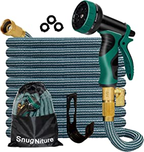 SnugNiture 100FT Expandable Garden Hose with 10 Function Spray Nozzle, Superior Strength 3750D No-Kink Expanding Pipe, Leakproof Lightweight Water Hose with 3/4