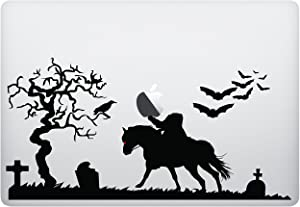 Laptop Decal - Headless Horseman with Graveyard Bats and Tree - Matte Black Skins Stickers
