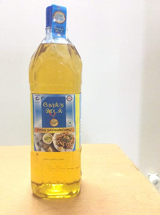 Gold Medal Chekku/Ghani made Gingelly Oil  PACK OF 2 , 1000 ml Coconut