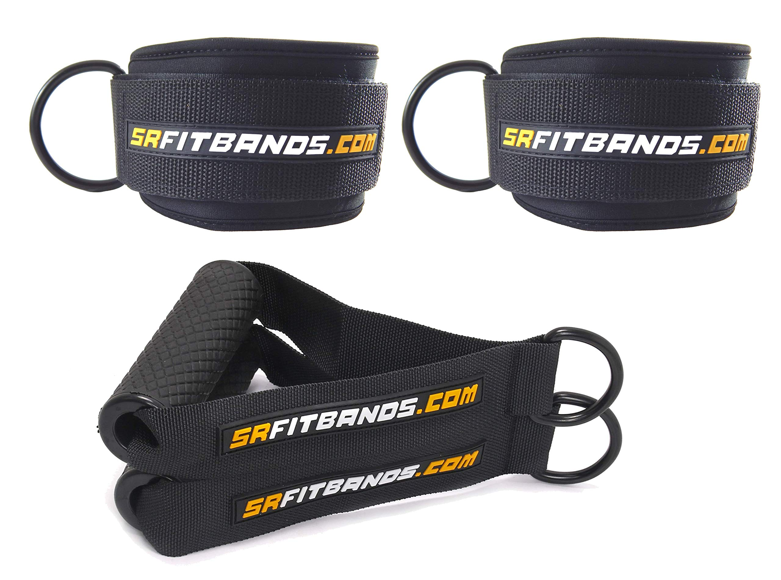 Training Accessory Kit   2 Professional Grade Ankle Cuffs and 2 Handles   The Athlete Accessory Kit for Teams, Bodybuilding, Powerlifting, Crossfit or Home Gyms