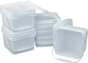 Square 68 mil Bucket Kit, Five 2-Gallon Buckets with White Snap-on Lids