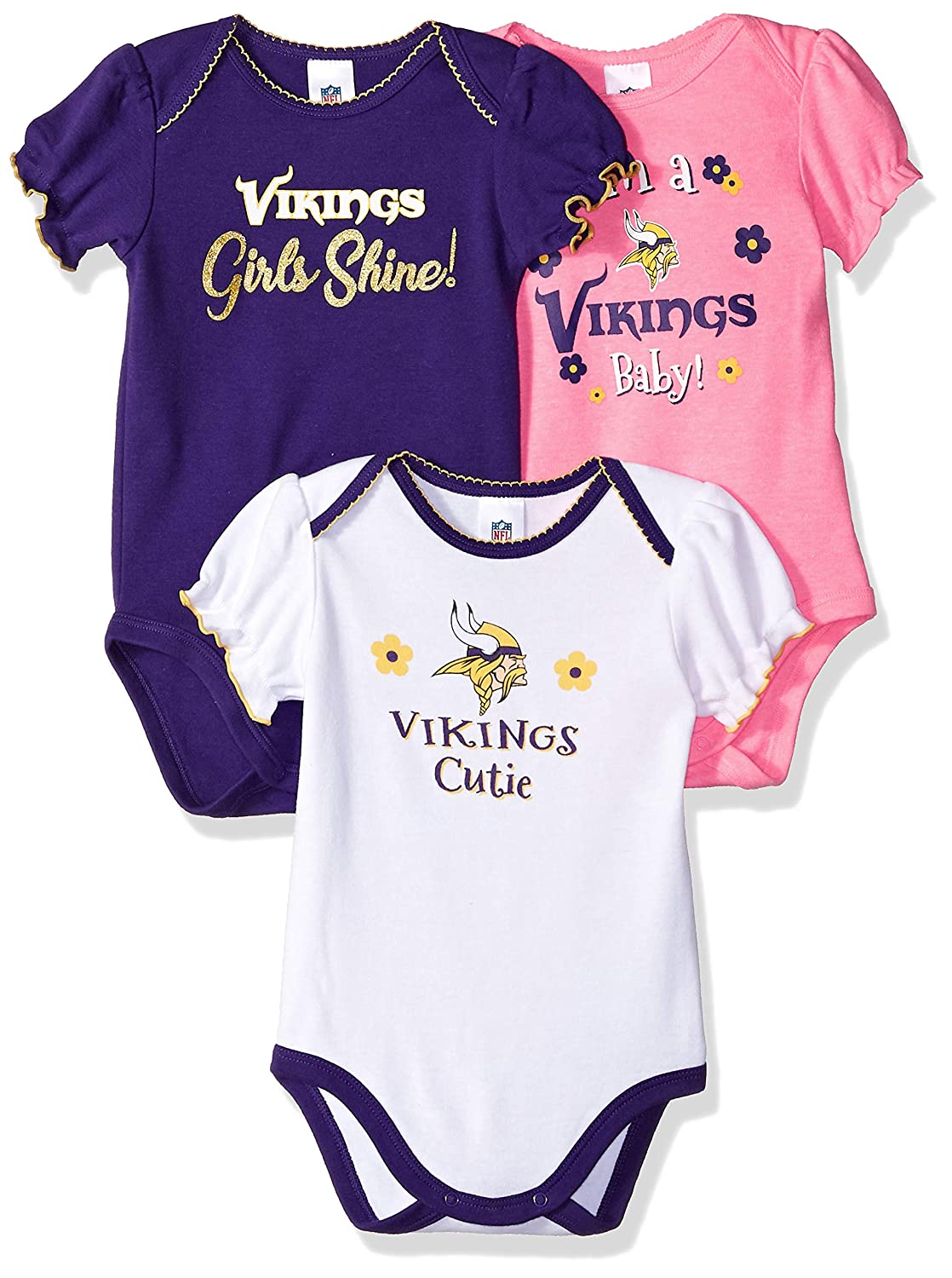9c45e242d Amazon.com : NFL Minnesota Vikings Baby-Girls 3-Pack Short Sleeve  Bodysuits, Pink, 6-12 Months : Sports & Outdoors
