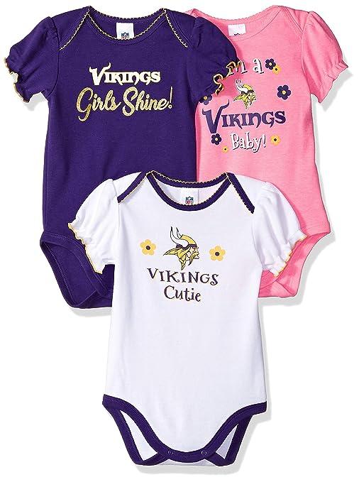 Amazon.com   NFL Minnesota Vikings Baby-Girls 3-Pack Short Sleeve ... 07862f8a5