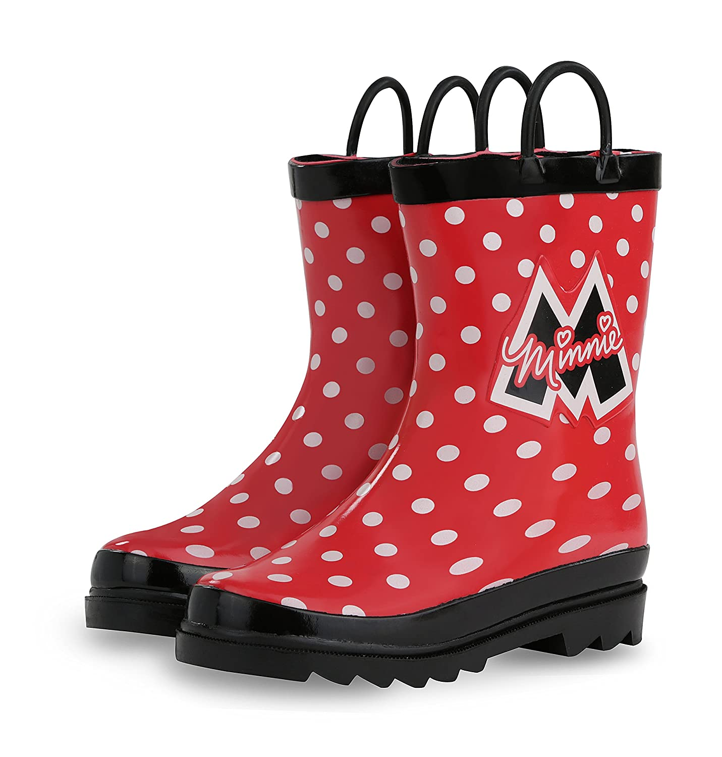 Disney Kids Girls Minnie Mouse Character Printed Waterproof Easy-On Rubber Rain Boots / Toddler//Little Kids