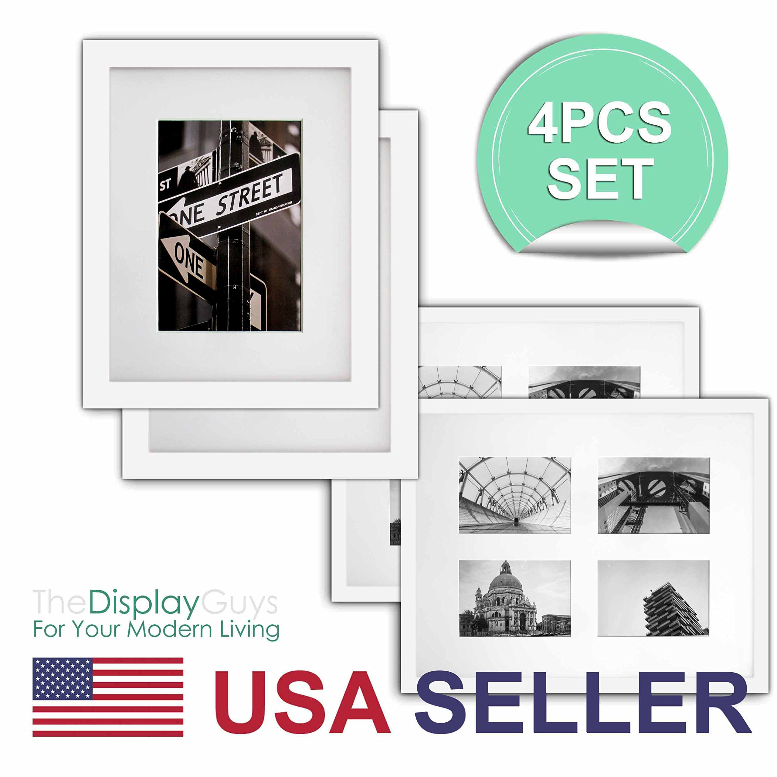 The Display Guys - 4 Sets 16x20 inches White Solid Pine Wood Photo Frame, Tempered Glass With White Core Mat Boards for 11x14 Picture + Collage Mat Boards for 4 -4x7 Picture