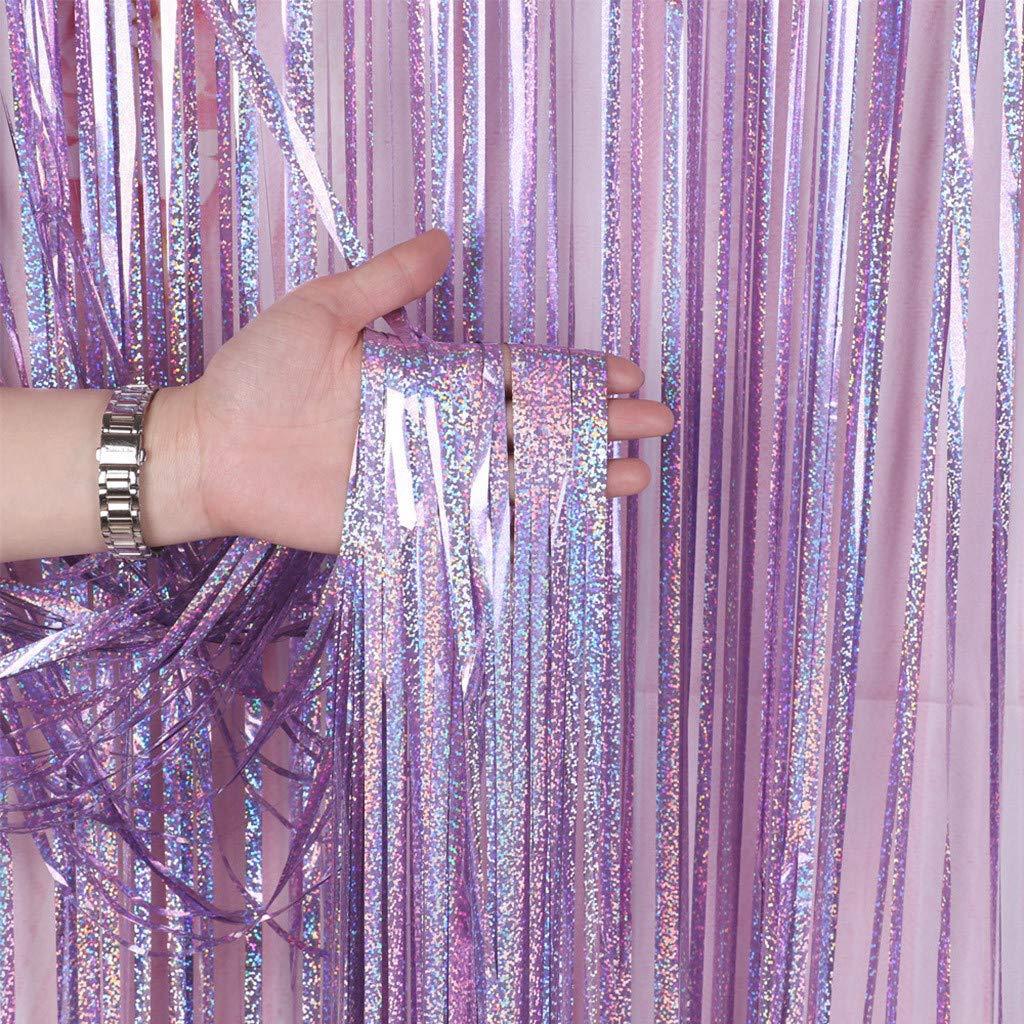 Folie Vorh/änge Lila Glitzervorhang Metallic Fringe Vorhang Fransenvorhang Gl/änzend Schimmer Vorhang f/ür Fotohintergrund Hochzeit Geburtstag Party Deko Jamicy/® 2er-Set Folie Vorhang 1 x 2m
