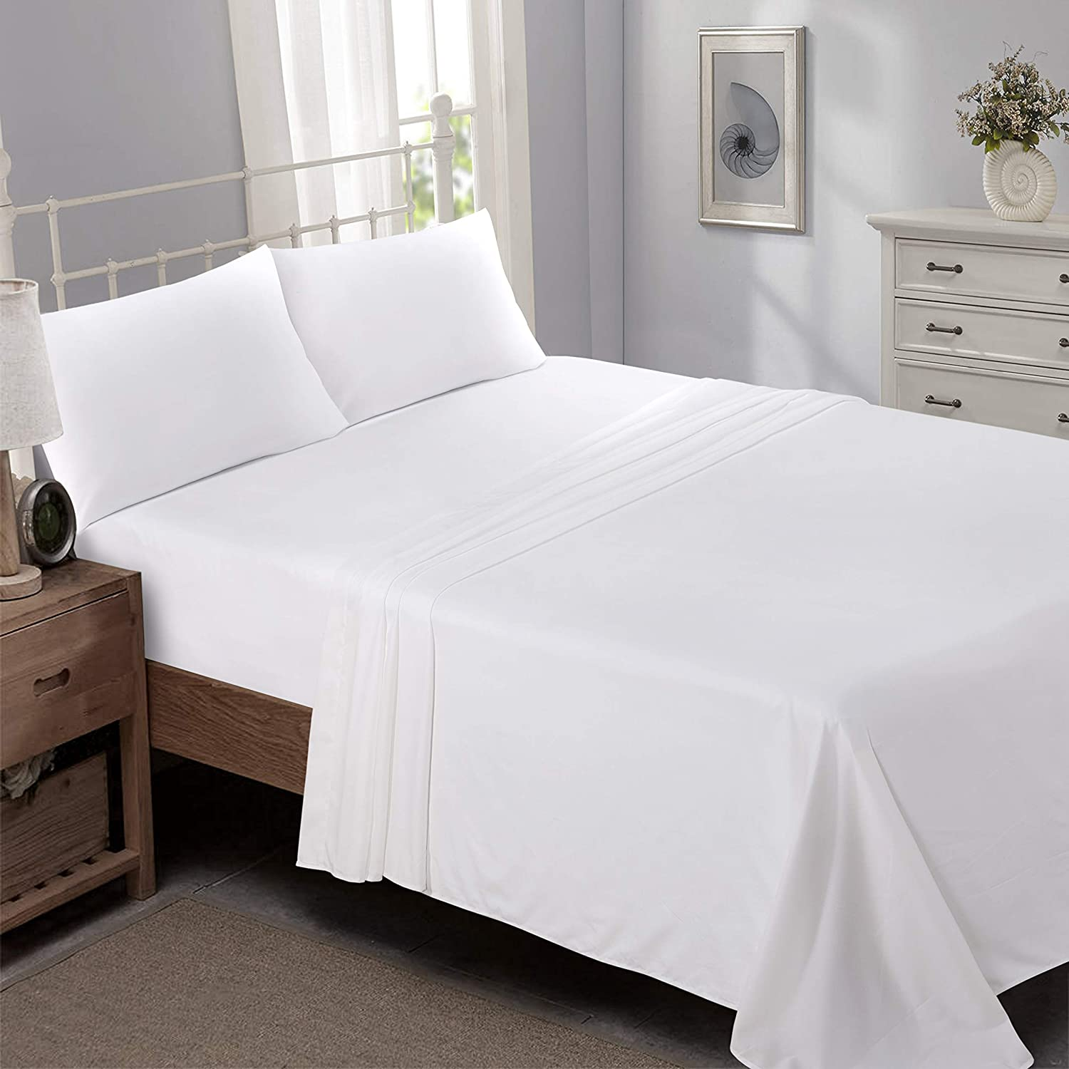 Niagara Sleep Solution Queen Bed Sheet Set White Brushed Microfiber Extreme Soft 1800 Series 4 Pieces Set Fitted, Flat, 2 Pillow Cases Wrinkle Stain, Fade Resistant
