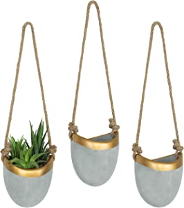 MyGift Modern Cement Grey & Gold-Tone Trim Hanging Wall Planters, Set of 3