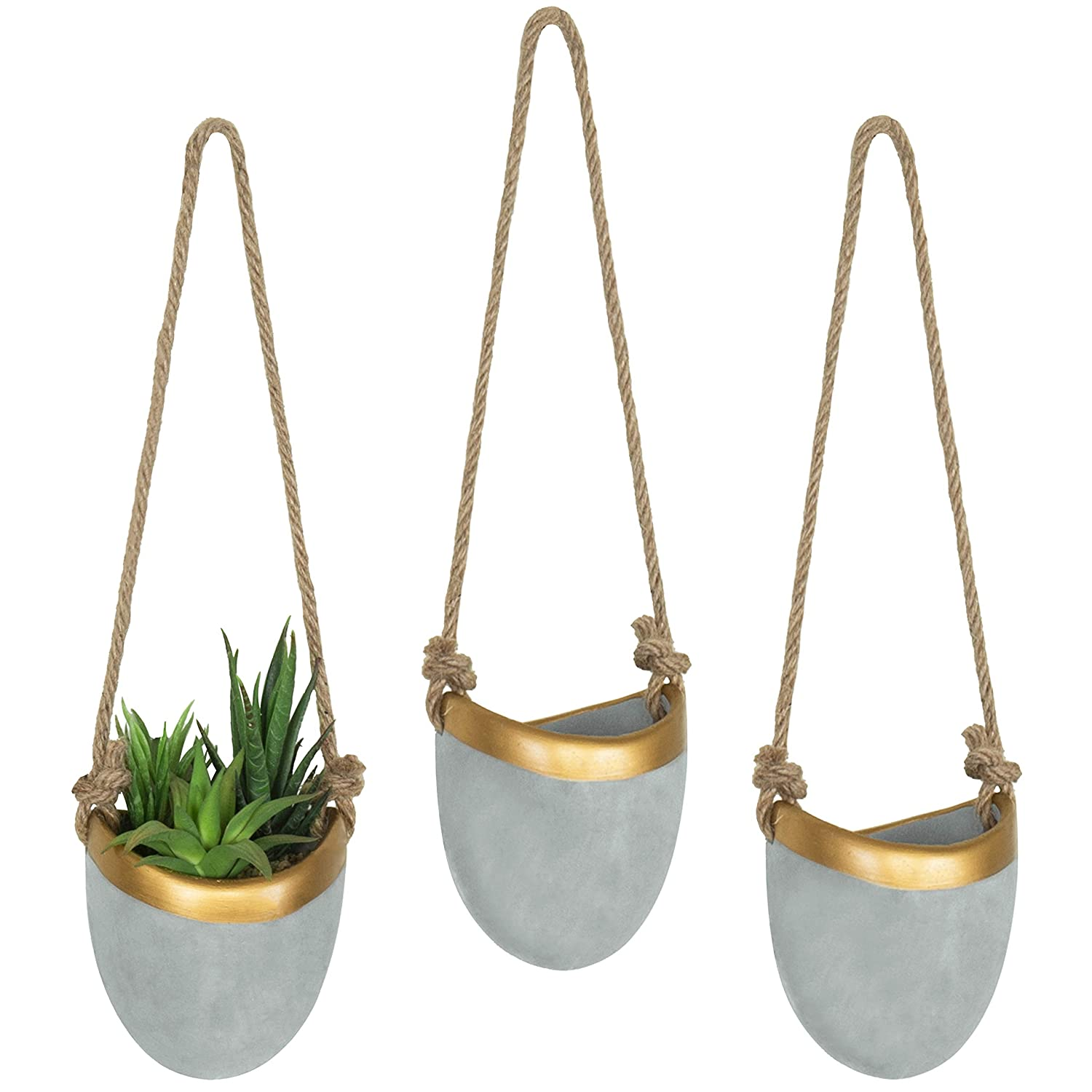 MyGift Modern Cement Grey Gold-Tone Trim Hanging Wall Planters, Set of 3