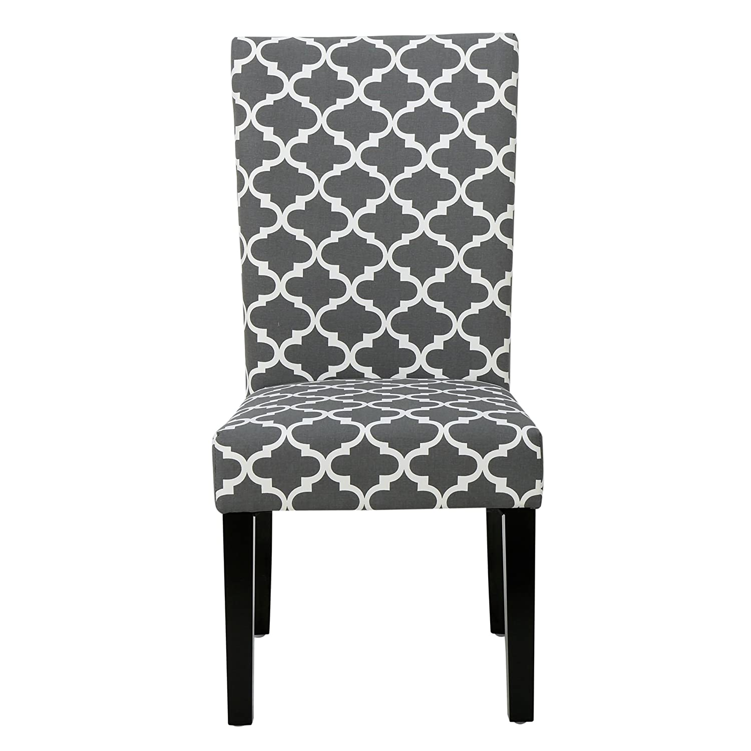 Beau Amazon.com   ModHaus Living Modern Fabric Moroccan Quatrefoil Pattern  Parsons Style Dining Chairs   Wood   Chairs