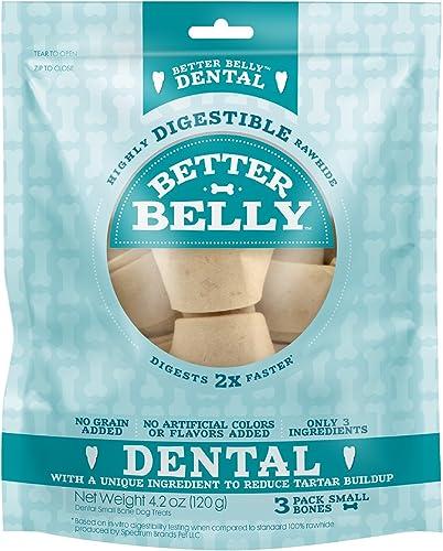 Better Belly Dental Small Bones Highly Digestible Rawhide, Reduces Tartar Buildup