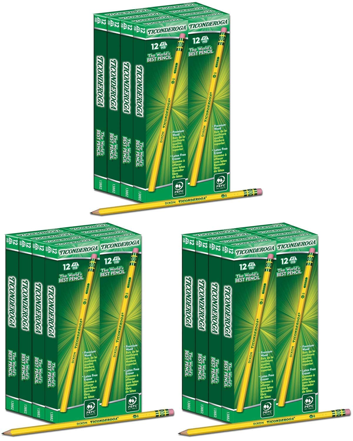 NCVBHDGH Ticonderoga Wood-Cased 2 HB Pencils, Box of 96, Yellow 3 Pack
