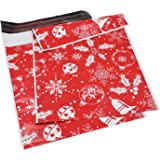 10 by 13 Inch Winter Poly Mailers with Elegant Snowflake Patterns Holiday Self Sealing Shipping Envelopes Bags, Pack of 50