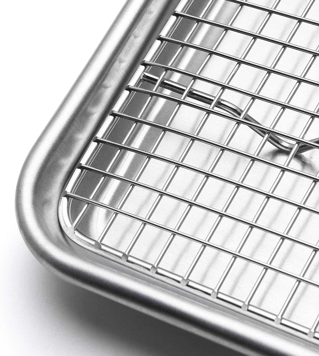 Spring Chef 100/% Heavy Duty Stainless Steel Baking Rack /& Cooling Rack Fits Jelly Roll Pan 10x15 Inches Set of 2 Oven Safe