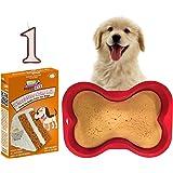 Dog 1st Birthday Cake Kit | Puppy Cake Wheat-Free Peanut Butter Dog Cake Mix | Happybotham Silicone Dog Bone Birthday Cake Pan for Dogs, 7-Inch by 10-Inch, Small | Number One Birthday Candle